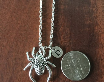 KIDS SIZE -Spider initial necklace, Large Spider jewelry, silver necklace, Spider necklace,  arachnophilia necklace, arachnophilia jewelry