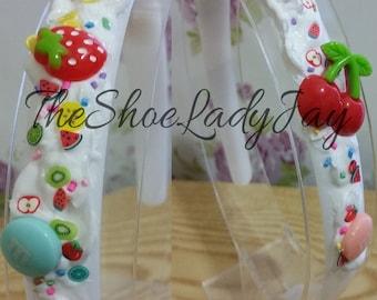 Fruity decoden hairband cherries strawberries m&ms fruit sweets cabochons cute kawaii