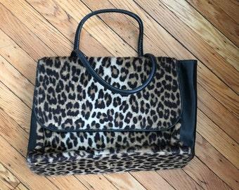 "Vintage ""Ronay"" faux leopard briefcase"