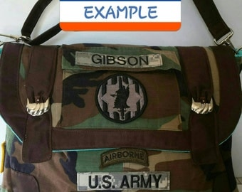 MESSENGER BAG- Customized From Military Uniform- ALL Branches of Service!  Specially made from your own military camo shirt!