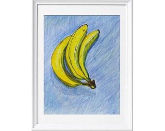 """Original color pencil drawing """"Three bananas"""""""