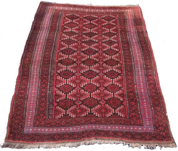 Size-5.9x4.2ft Afghan Baluchi Rug Caucasian Rug Tribal Rug