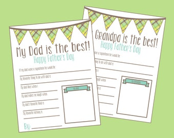 Father's Day Questionnaire. Instant Digital Download