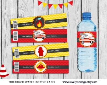 Fire truck Water Bottle Label, Firefighter party supplies, Firetruck Safari Birthday, Firetruck Label, Decor Instant Download