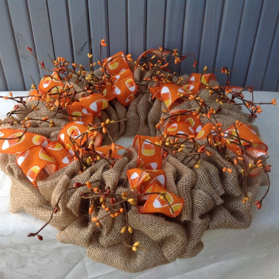 Decorating Ideas > Items Similar To Candy Corn Fall Burlap Centerpiece Fall  ~ 070224_Thanksgiving Decorations On Etsy