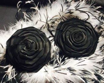 2-pin black satin flowers