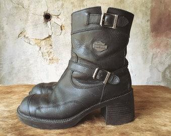 Harley Davidson platform buckle boots - sz. 7.5