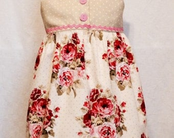 Girls Size 5 Dress, Girls Summer Dress, Pink and Green with Roses, Ready to Ship, One of a Kind