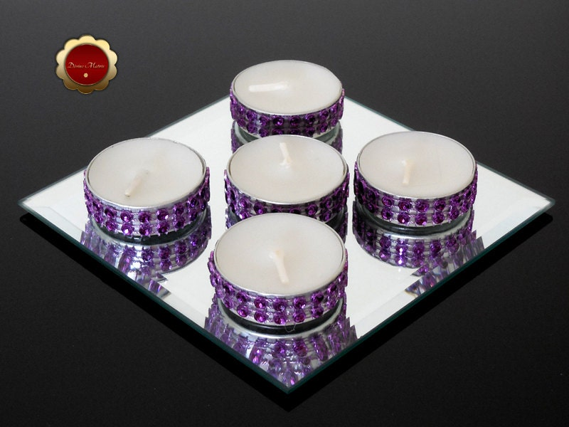 25 Bling Purple Tealight Candles Rhinestone Candles Wedding
