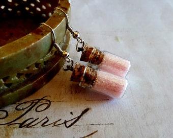 Unicorn Essence Potion Bottle Earrings - Unicorn Jewelry, Bottle Earrings, Dangle Earrings, Magic Spells, Once Upon A Time