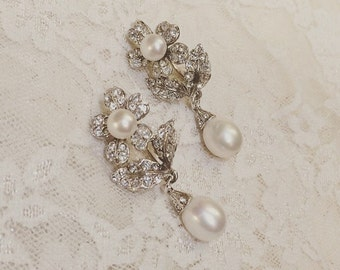 Pearl Earrings Bridal Vintage Wedding