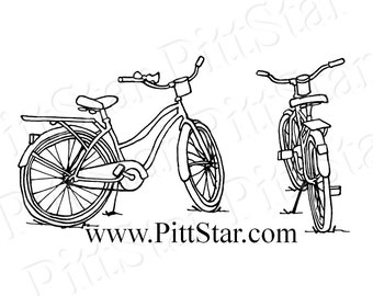Instant Download - Vintage Bikes - Printable Coloring Page