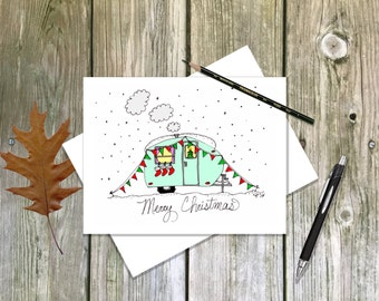 Cute Holiday Camper Travel Trailer - Blank note card single or in sets - Merry Christmas