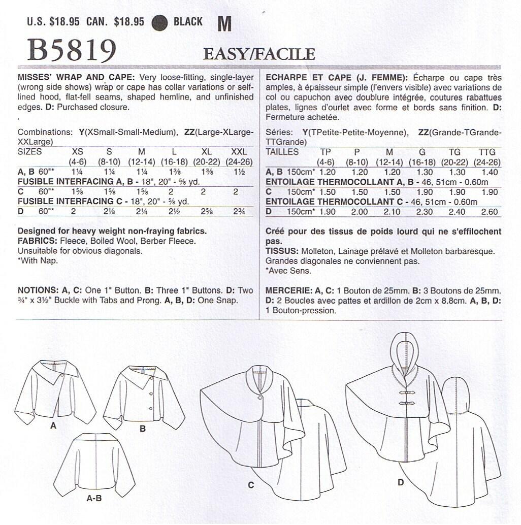 Easy misses fleece wool cape wrap hood collar variations butterick 699 jeuxipadfo Choice Image