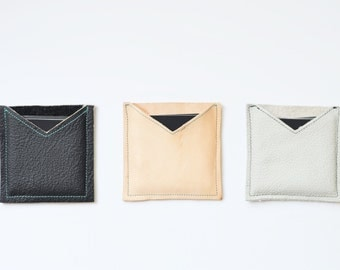 Leather square business card case, square card case, moo card holder, moo card case, square business card holder, square business cards
