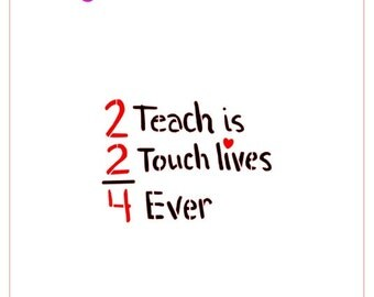 """Teacher Banner """"2 Teach is 2 Touch Lives 4 Ever"""" Stencil for Cookies, Cupcakes, Cakes Apples School"""