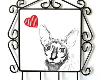 Cornish Rex- clothes hanger with an image of a cat. Collection. Cat with heart.