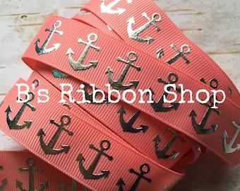 "7/8"" Silver Foil Anchor on Coral USDR grosgrain ribbon nautical ocean ship boat"