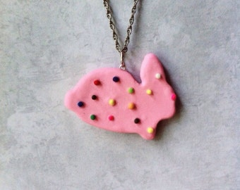 Bunny Animal Cookie necklace, polymerclay