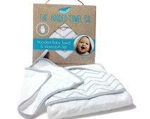 Large, soft and thick baby hooded towel and washcloth set. Ideal gift for newborns and mums to be.
