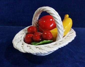 Vintage ceramic basket of fruit made in Italy