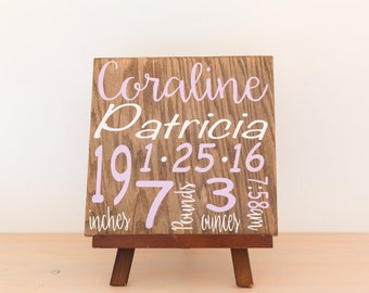 """Baby stat sign 12x12"""" painted wood sign"""
