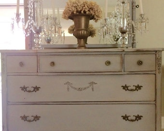 Antique French Dresser with Mirror, Buffet, Cabinet, Beautiful Carvings and Fluted Feet, Paris Grey