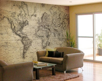 JP London Removable Wall Mural Peel and Stick or Removable Paper Vintage Map at various sizes MD7000PS or MD7000