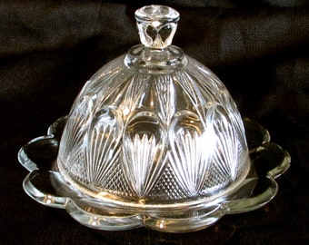 Art Deco Heavy Glass Covered Butter Dish Clear Pressed Glass Lidded Butter Keeper