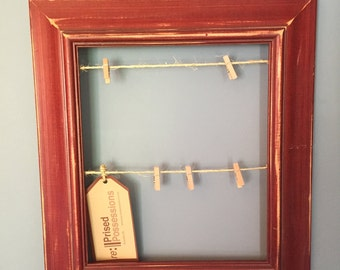 Clothesline Picture Frame - Weathered Distressed Red Finish