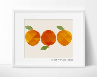 "Orange Print: ""GEOMETRIC ORANGES"" Digital Printable, Citrus Wall Art, Fruit Kitchen Decor"