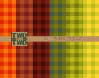 """Fall Buffalo Plaid Digital Paper: """"Buffalo Check"""" in Autumn Orange, Green, Yellow, and Brown for Camping or Rustic Backgrounds"""
