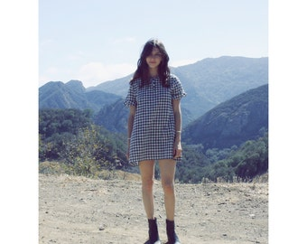 The 'Valley Of The Dolls' Dress in Navy Blue Gingham // 60s 70s 1960s 1970s Shift Sheath Swing 90s School Girl Dolly