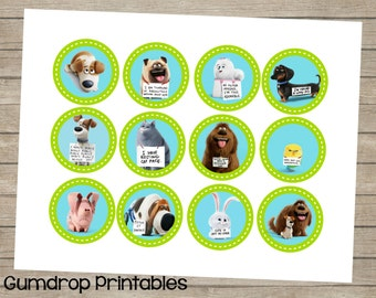 Secret Life of Pets Movie Cupcake Toppers 2 Inch Circles Images ~ Instant Download ~ Cupcake Circles ~ Pets Life ~ Secret Life Pets Birthday