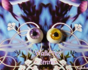 Handmade eyes 8 mm - Walleyes (purple-yellow)
