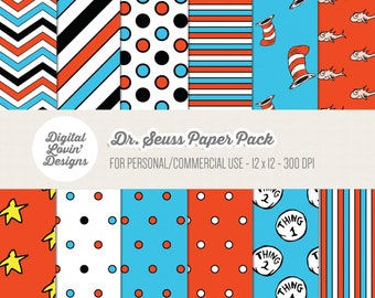 INSTANT DOWNLOAD - 12 Dr. Seuss The Cat In The Hat Digital Papers for Scrapbooking, Invitations, Digital Scrapbooking Personal/Commerical