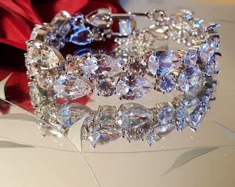 Bridal Rhodium Plated CZ Bracelet / Wedding Cubic Zirconia Bracelet