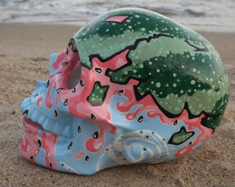 FREE SHIPPING Handmade Handpainted Colorful Watermelon Splash Green Pink Fresh Sweet Lovely Cute Mexican Day of the Dead Ceramic Sugar Skull