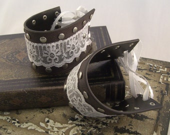 Lace and Leather Bracelet,  Leather Cuffs, Steampunk Cuffs, Steampunk Costume