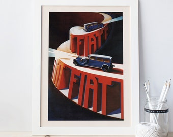Vintage ART DECO Print Reproduction - Classic AUTOMOBILE Poster - Ikea Ribba Size Fiat Art Deco Car Poster Wall Art Home Decor