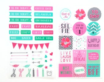 Washi planner stickers, set of 2 sheets
