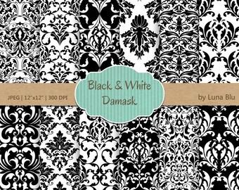 "Black Damask Digital Paper: ""Black and White Damasks"" damask patterns, black and white digital paper, cardmaking, invitations"