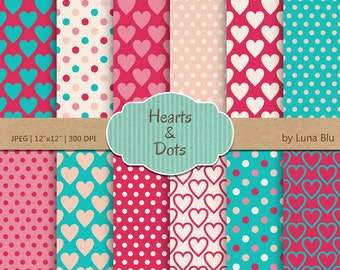 "Heart Digital Paper Pack: "" Hearts and Dots"" valentine digital paper, valentine's day, valentine scrapbook paper"