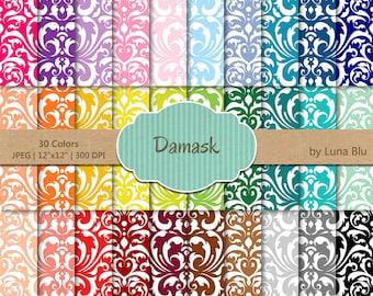 """Damask Digital Paper pack: """"Rainbow Damask"""" digital paper bundle, damask scrapbook paper, set of 30, commercial use, mega pack"""