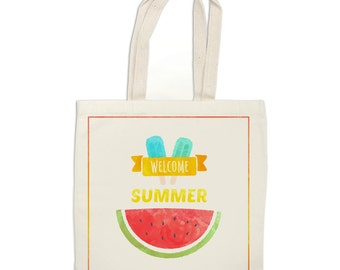 Summer tote bag, watermelon bag, Summer treats bag, Hello Summer tote bag, Summer market bag, Reusable shopping bag, summer library tote
