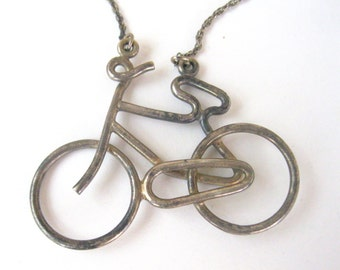 Sterling Silver Bicycle Pendant Necklace Vintage Antique