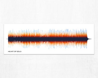 Heart of Gold - Music Sound Wave Wall Art Print, Unique Home Decor