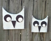 Primitive Owls -Set of Two - Folk Art -  Shelf Sitter or Wall Hanging - OFG, FAAP, HAFAIR, Team HaHa
