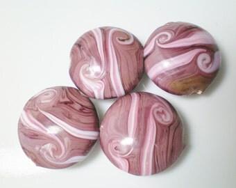 Destash...4 Swirled Mauve Large Lentil Lampwork Beads