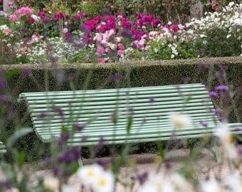 Paris photography, Paris park bench, Paris garden, bench, flowers, French wall art, Paris decor, home decor, fine art print